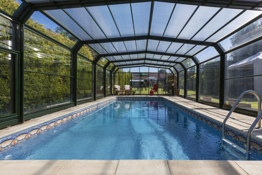 a covered beautiful pool